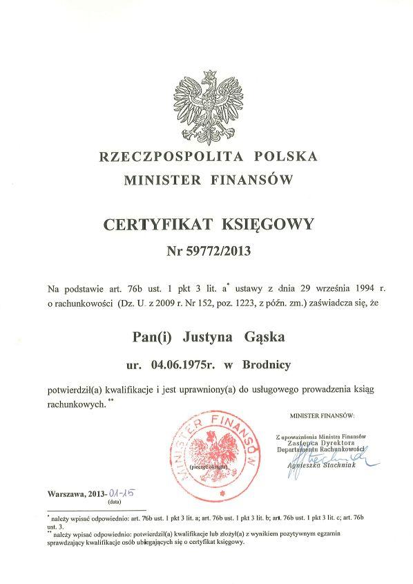 Certyfikat Księgowy Eventus Justyna Gąska